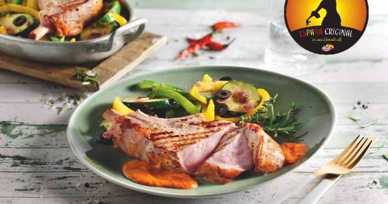 Fiesta España – Duroc Schweinekotelett mit spanischem Pfannengemüse